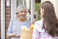 Person doing shopping for elderly neighbour teenage girl Royalty Free Stock Photos
