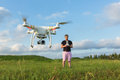 Person with Drone in Field Royalty Free Stock Photo