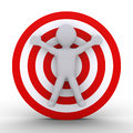 Person in front of a target d as round dartboard Royalty Free Stock Photos