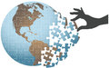 Person hand find global puzzle solution Royalty Free Stock Photo