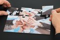 Person Hand Holding Jigsaw Puz...