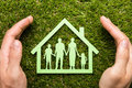 Person Hand Protecting Family Home Royalty Free Stock Photo