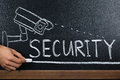 Person Hand Showing Security Concept On Blackboard Royalty Free Stock Photo