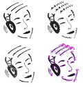 Person with headphones illustrated set of abstract cartoon people listening to music on white background Royalty Free Stock Photo