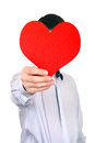 Person holds red heart shape isolated on the white background Stock Photo