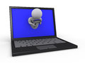 Person with magnifier through laptop Stock Image