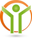 Person in motion and circle, fitness and health logo