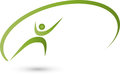 Person in motion, colored, sport and fitness logo