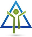 Person in motion and triangle, fitness and health logo