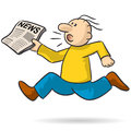 Person with news illustration of a running very quickly Stock Photography
