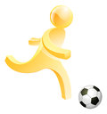 Person playing soccer football a stylised about to kick a or foot ball Royalty Free Stock Photo