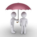 Person protecting with umbrella another one d is offering his to Royalty Free Stock Images