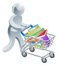 Person pushing trolley with books a a shopping cart or a large stack of in it Royalty Free Stock Image