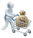 Person pushing trolley with money Stock Photo