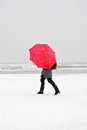 Person with red umbrella in snow storm Royalty Free Stock Photo