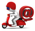 Person on scooter wit e-mail symbol. Stock Images