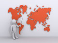 Person is showing a world map d as teacher Royalty Free Stock Images