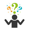 Person silhouette with question mark Royalty Free Stock Photo