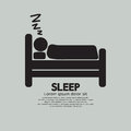 Person sleeping in bed symbol Immagine Stock