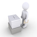 Person standing before a ballot box d holding an envelope is in front of Stock Photography