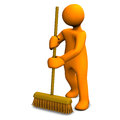 Person with sweeping brush