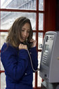 Person talking public phone Royalty Free Stock Photography