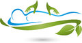 Person and two hands, massage and naturopathic logo