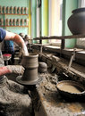 Person using potters wheel Royalty Free Stock Photos