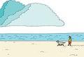 Person walking dog en la costa Imagen de archivo libre de regalías
