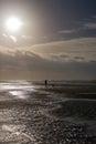 Person walking dog at stormy day at beach Royalty Free Stock Photo