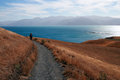 Person walking on a path in kaikoura new zealand south island Royalty Free Stock Images