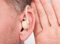 Person wearing hearing aid close up of a Royalty Free Stock Photos