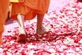 Person Wearing Orange Dress Walking on Petals during Daytime