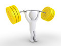 Person is weight lifting dollar coins d dumbbell made of Royalty Free Stock Photos