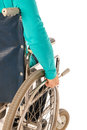 Person in wheelchair riding on white background Stock Photos