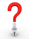 Person is wondering under a question mark d sitting red Royalty Free Stock Photo