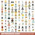 100 personage icons set, flat style Royalty Free Stock Photo