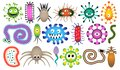 Personage monster, creature. Character of the set microorganism. Microbe, parasite, bacteria, virus, worm, sperm.