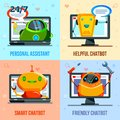 Chat Bot Flat Design Concept Royalty Free Stock Photo