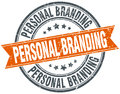 Personal branding round orange grungy isolated stamp