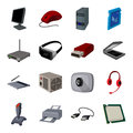 Personal computer accessories set icons in cartoon style. Big collection of personal computer accessories vector symbol