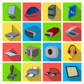 Personal computer accessories set icons in flat style. Big collection of personal computer accessories vector symbol