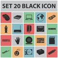 Personal computer black icons in set collection for design. Equipment and accessories vector symbol stock web Royalty Free Stock Photo