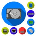 Personal computer flat icons in set collection for design. Equipment and accessories vector symbol stock web