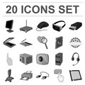 Personal computer monochrome icons in set collection for design. Equipment and accessories vector symbol stock web
