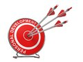 Personal development business concept three arrows hitting the center of a red target where is written Stock Image