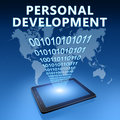 Personal development illustration with tablet computer on blue background Stock Photography