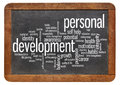 Personal development word cloud of words or tags related to on a vintage slate blackboard isolated on white Royalty Free Stock Photos