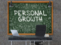 Personal Growth Concept. Doodle Icons on Chalkboard. 3D.