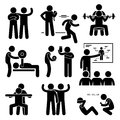 Personal gym coach trainer instructor exercise workout icons a set of human pictogram representing exercising and with a Royalty Free Stock Photos